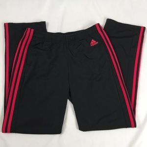 Adidas- Black/red 3 stripe track pants size M